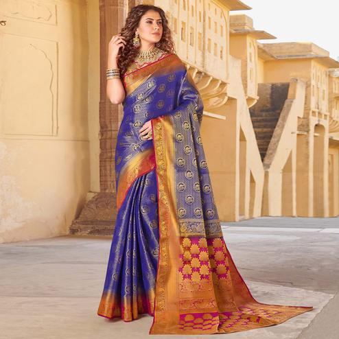 Attractive Violet Colored Festive Wear Woven Silk Saree