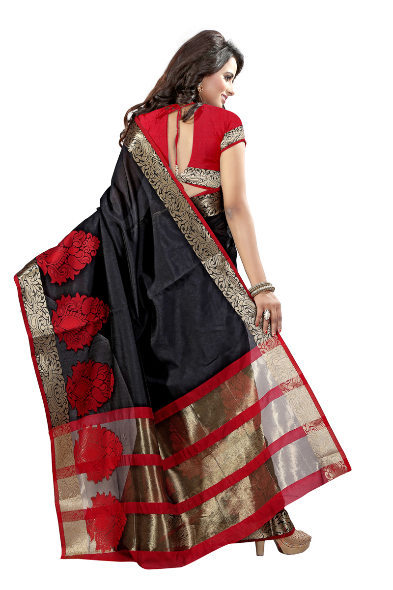 Black Poly Cotton Saree