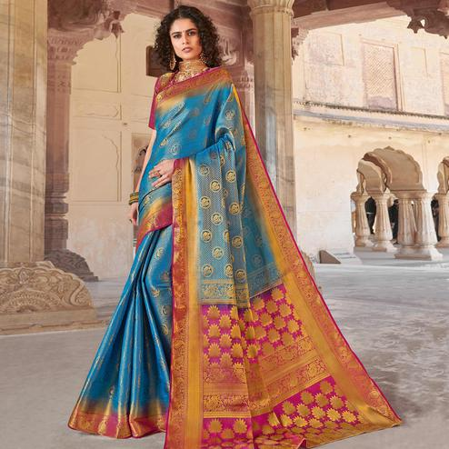 Blooming Blue Colored Festive Wear Woven Silk Saree