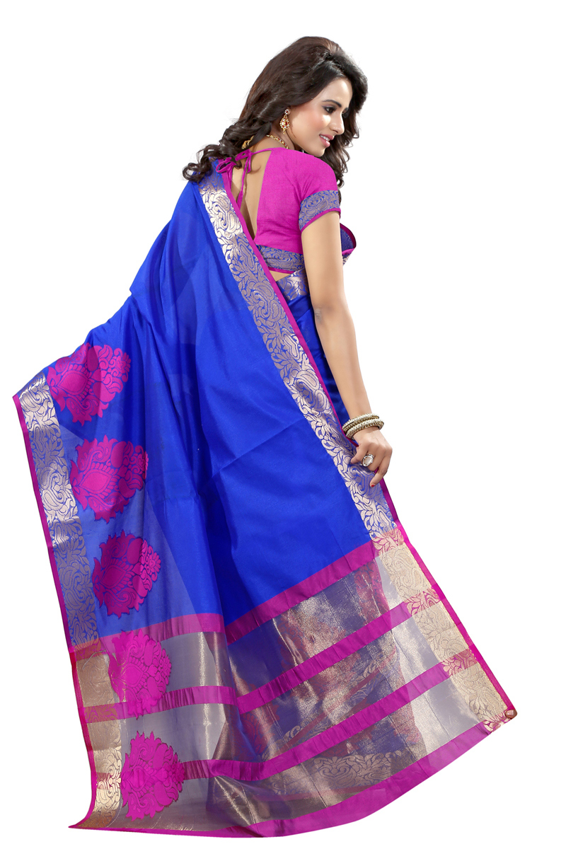 Blue Party Wear Poly Cotton Saree