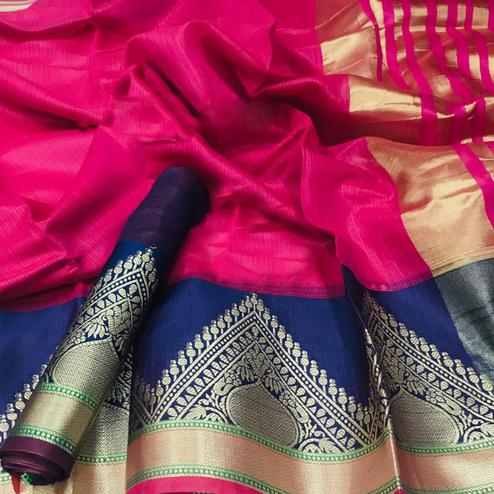 Delightful Pink Colored Festive Wear Woven Kota Doria Saree