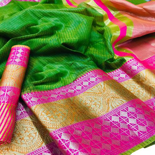 Groovy Green Colored Festive Wear Woven Kota Doria Saree