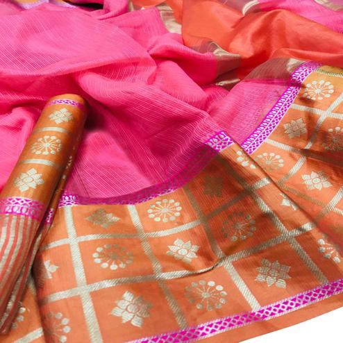Adorable Pink Colored Festive Wear Woven Kota Doria Saree