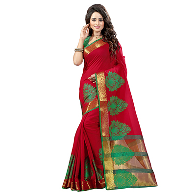 Red Poly Cotton Traditional Saree