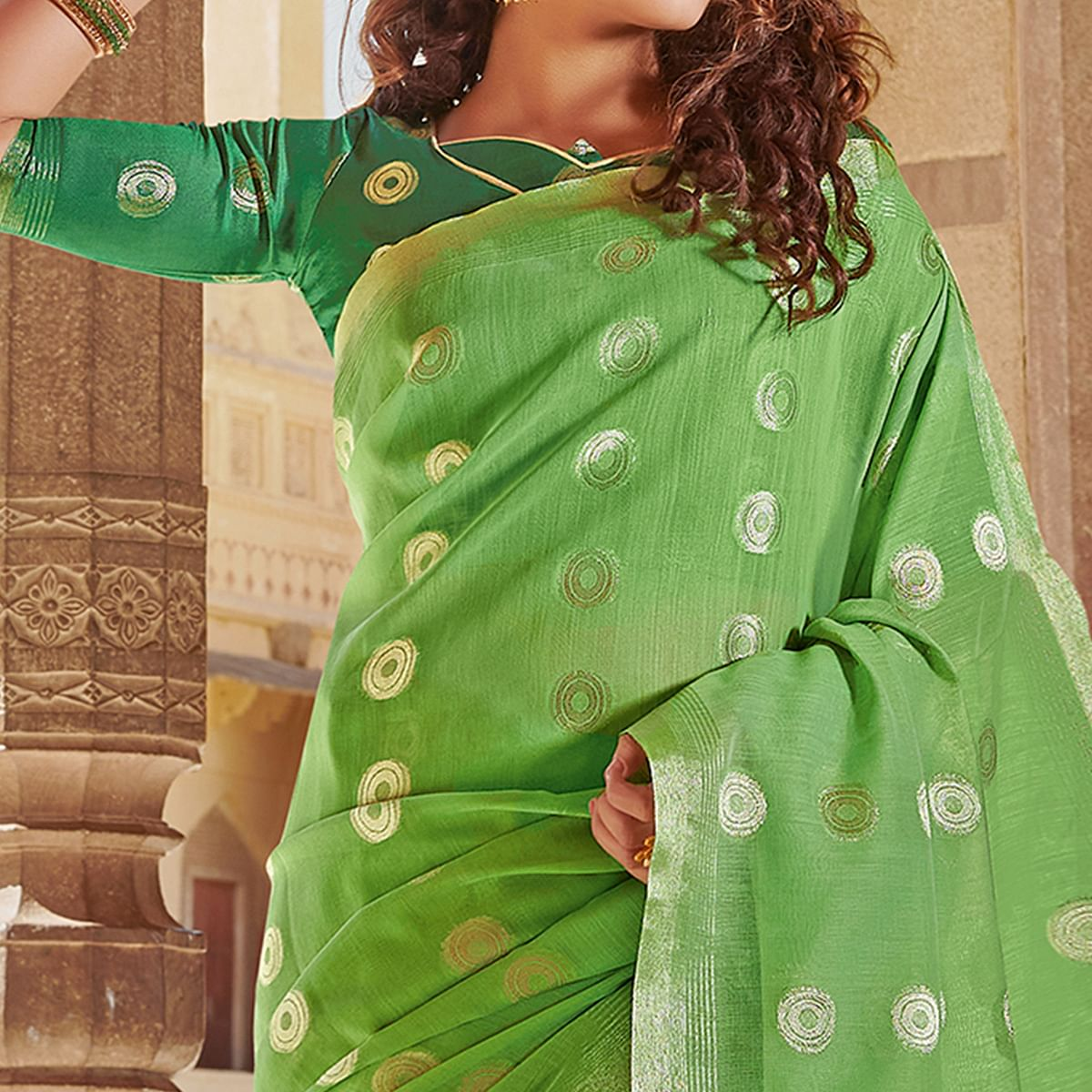Pleasance Green Colored Festive Wear Woven Linen Cotton Saree With Tassels