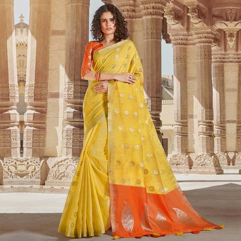 Breathtaking Yellow Colored Festive Wear Woven Linen Cotton Saree With Tassels