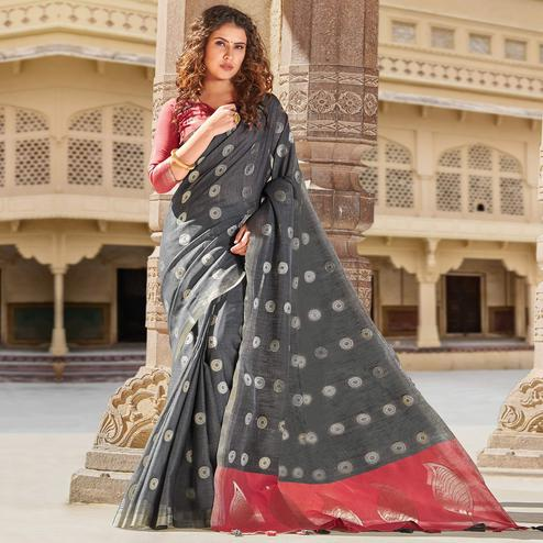 Ethnic Grey Colored Festive Wear Woven Linen Cotton Saree With Tassels
