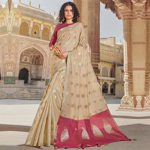 Ravishing Beige Colored Festive Wear Woven Linen Cotton Saree With Tassels