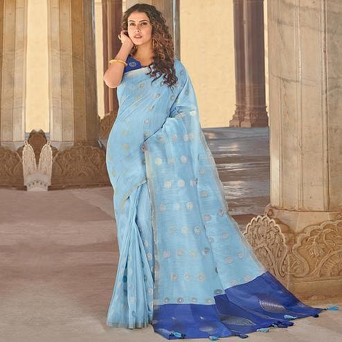 Staring Sky Blue Colored Festive Wear Woven Linen Cotton Saree With Tassels