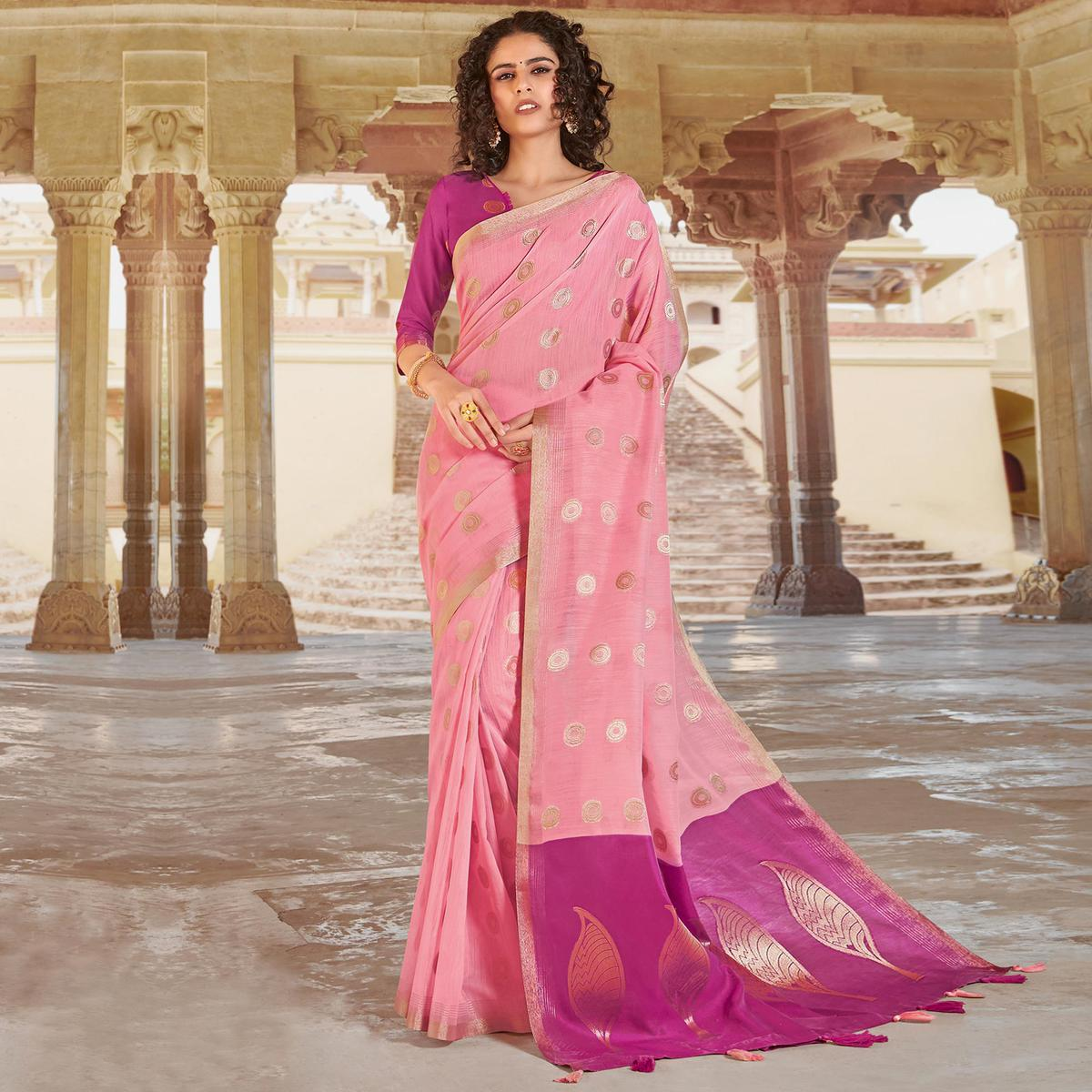 Dazzling Pink Colored Festive Wear Woven Linen Cotton Saree With Tassels