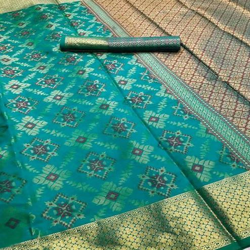 Glorious Rama Green Colored Festive Wear Woven Silk Saree