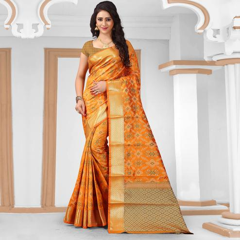 Attractive Yellow Colored Festive Wear Woven Silk Saree