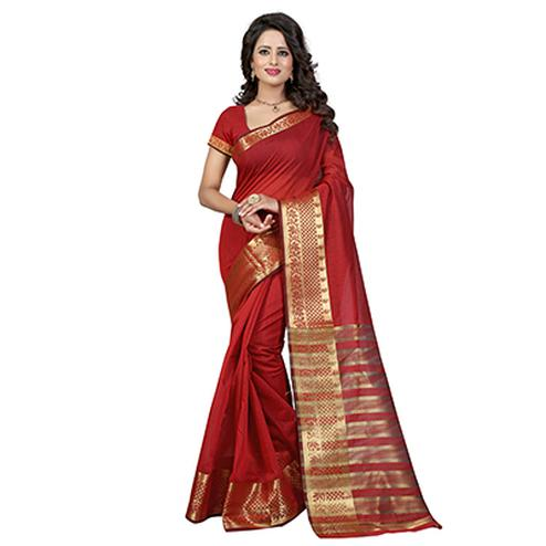 Red Zari Work Cotton Silk Saree