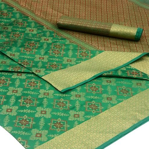 Graceful Green Colored Festive Wear Woven Silk Saree