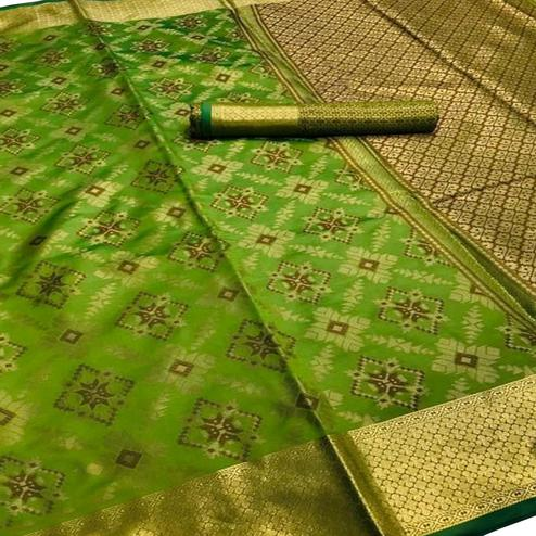 Jazzy Olive Green Colored Festive Wear Woven Silk Saree