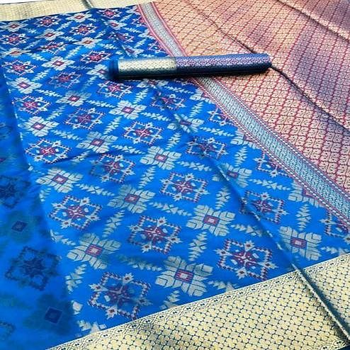 Engrossing Blue Colored Festive Wear Woven Silk Saree