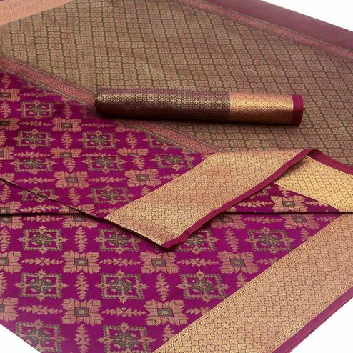 Captivating Magenta Pink Colored Festive Wear Woven Silk Saree