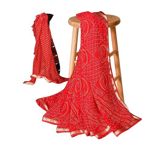 Excellent Red Colored Casual Bandhani Printed Georgette Saree