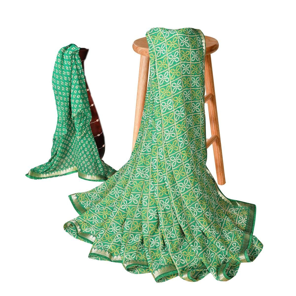 Ravishing Green Colored Casual Bandhani Printed Georgette Saree