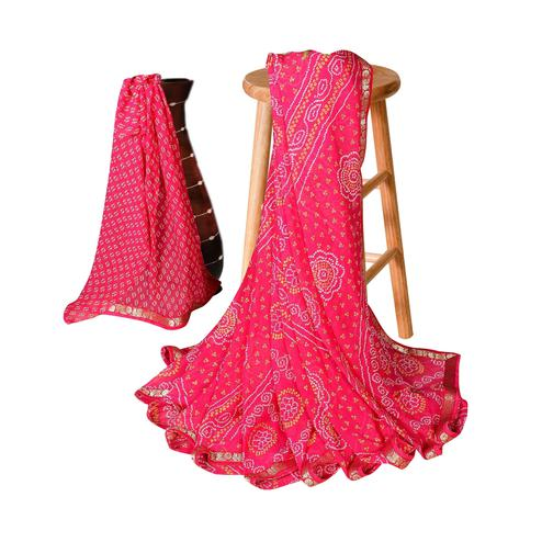 Delightful Pink Colored Casual Bandhani Printed Georgette Saree