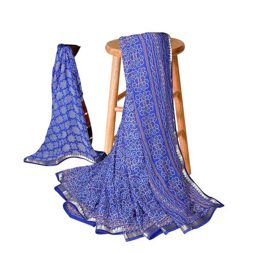Engrossing Blue Colored Casual Bandhani Printed Georgette Saree