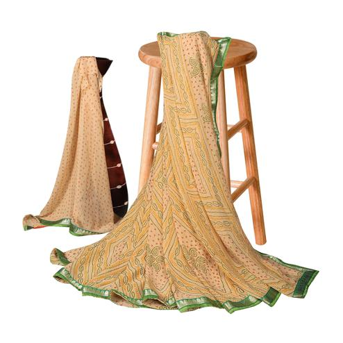 Gorgeous Cream Colored Casual Bandhani Printed Georgette Saree