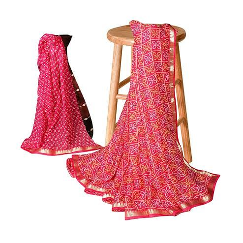 Elegant Pink Colored Casual Bandhani Printed Georgette Saree