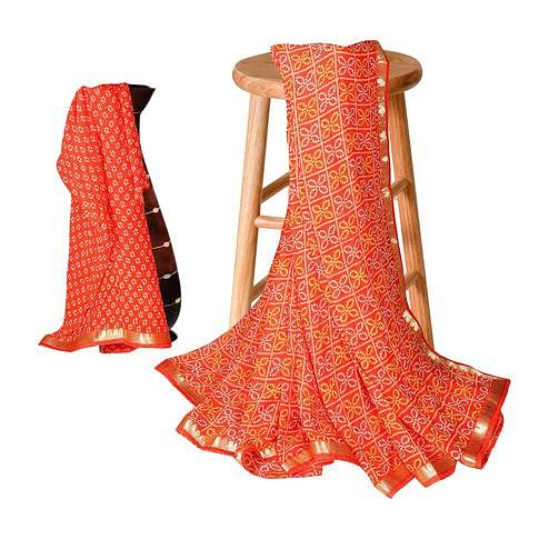 Groovy Orange Colored Casual Bandhani Printed Georgette Saree
