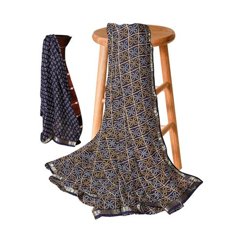 Exceptional Navy Blue Colored Casual Bandhani Printed Georgette Saree