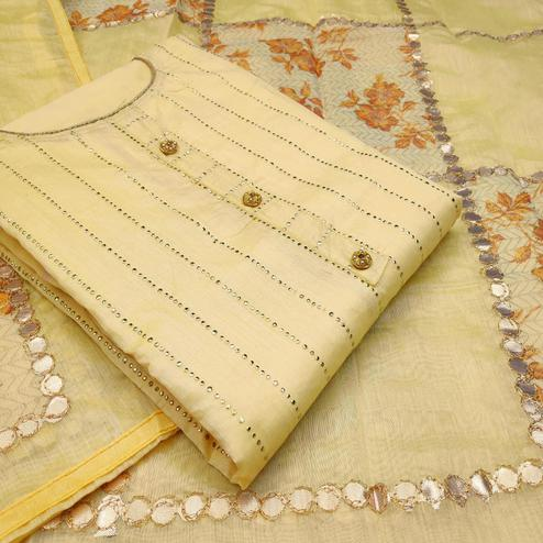 Fantastic Yellow Colored Partywear Embroidered Modal Silk Dress Material