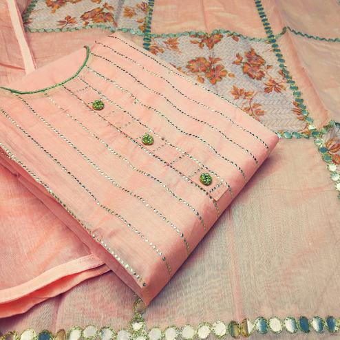 Glorious Peach Colored Partywear Embroidered Modal Silk Dress Material