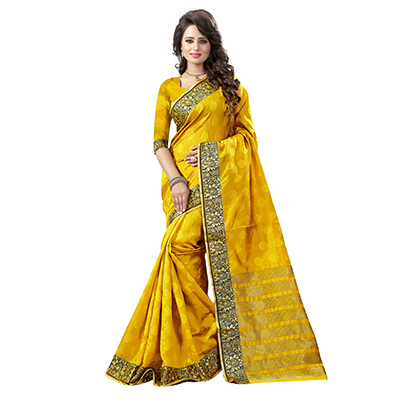 Mustard Yellow Festive Wear Saree