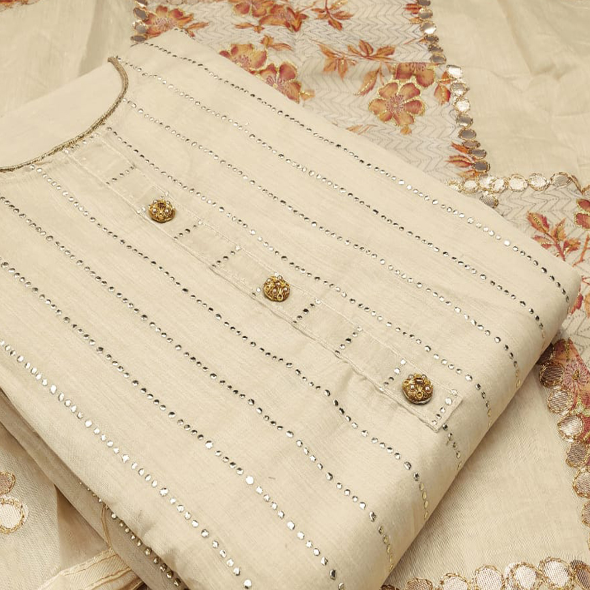 Hypnotic Beige Colored Partywear Embroidered Modal Silk Dress Material