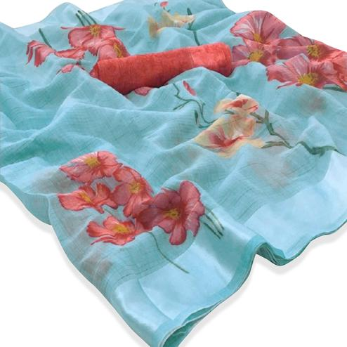 Exotic Aqua Blue Colored Casual Floral Printed Linen Saree