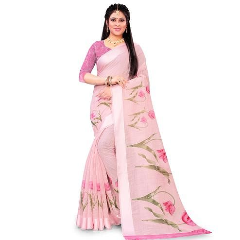 Sophisticated Pink Colored Casual Floral Printed Linen Saree