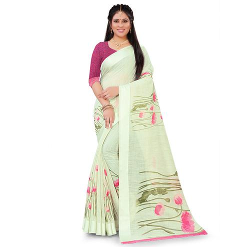 Trendy Olive Green Colored Casual Floral Printed Linen Saree
