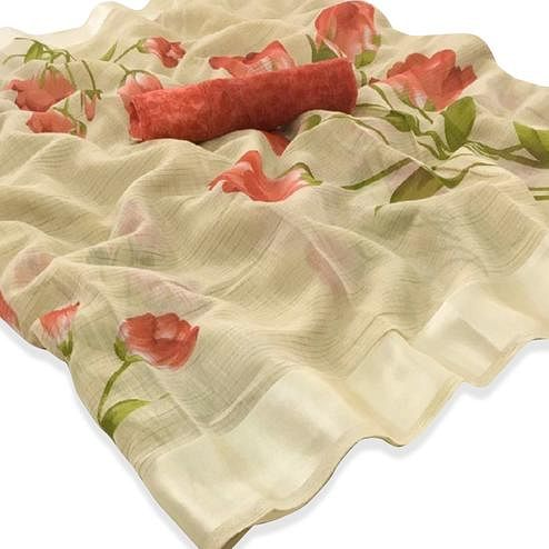 Elegant Beige Colored Casual Floral Printed Linen Saree