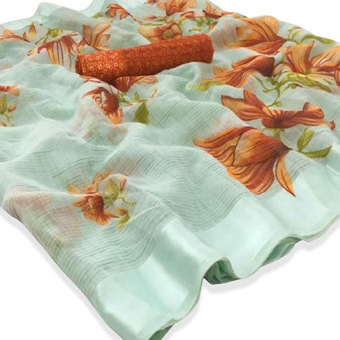 Radiant Mint Green Colored Casual Floral Printed Linen Saree
