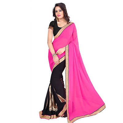 Pink - Black Georgette Half Saree