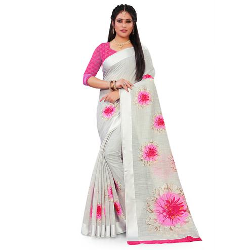 Opulent Grey Colored Casual Floral Printed Linen Saree