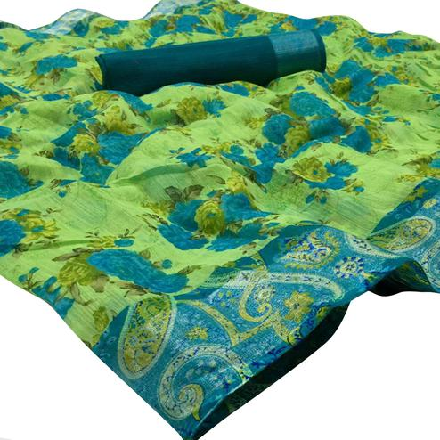Intricate Green Colored Casual Wear Floral Printed Linen Saree