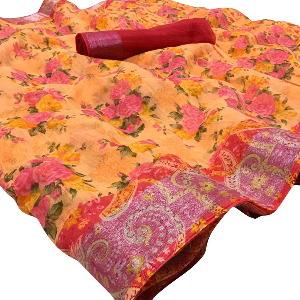 Arresting Peach Colored Casual Wear Floral Printed Linen Saree