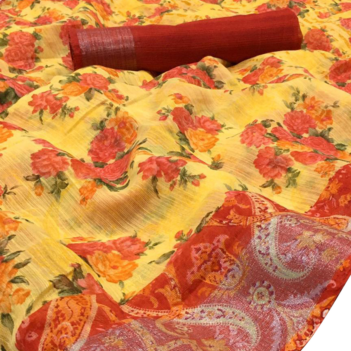 Desirable Yellow Colored Casual Wear Floral Printed Linen Saree