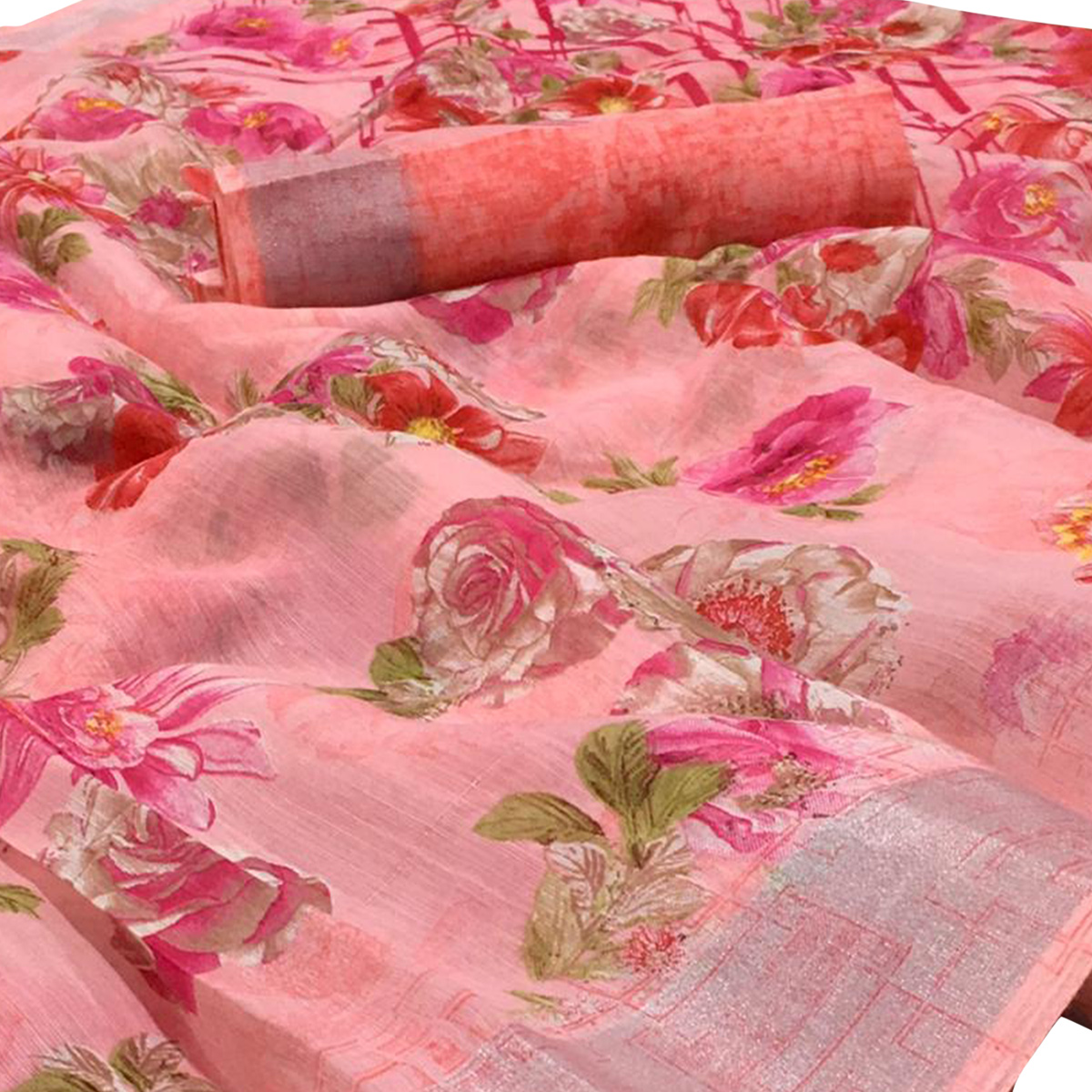 Sophisticated Ligth Pink Colored Casual Wear Floral Printed Linen Saree