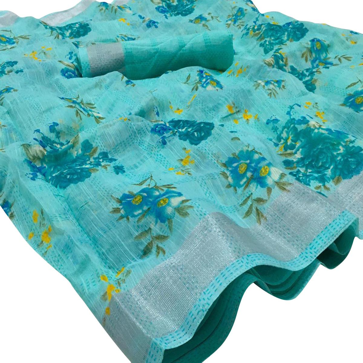 Trendy Firozi Colored Casual Wear Floral Printed Linen Saree