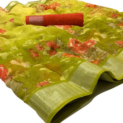 Elegant Mehendi Green Colored Casual Wear Floral Printed Linen Saree