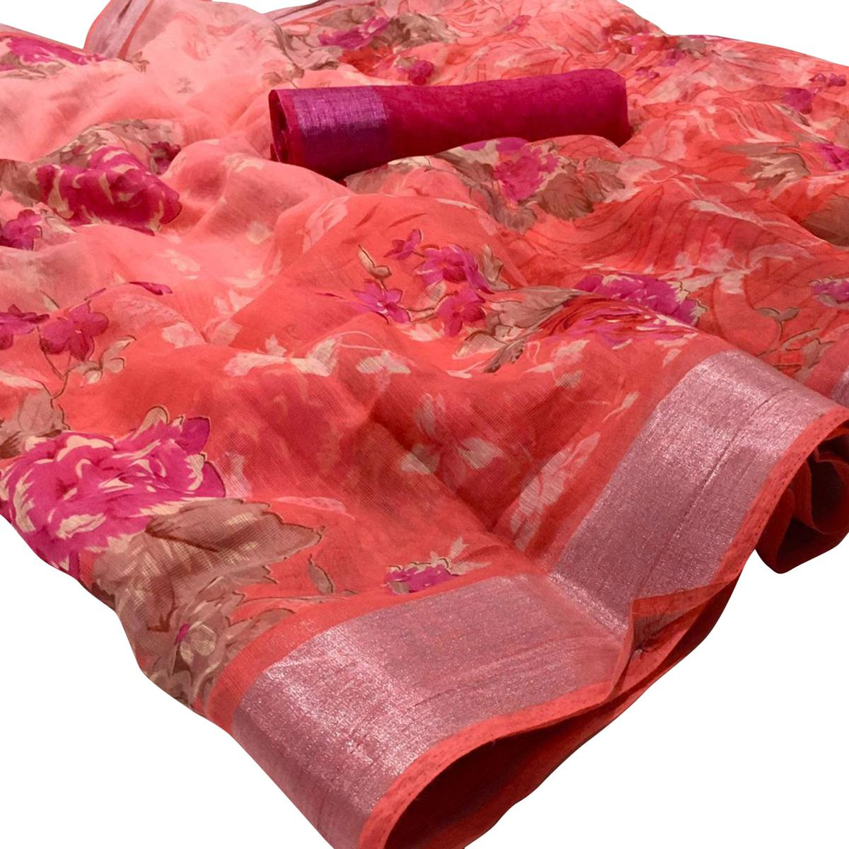 Radiant Pink Colored Casual Wear Floral Printed Linen Saree