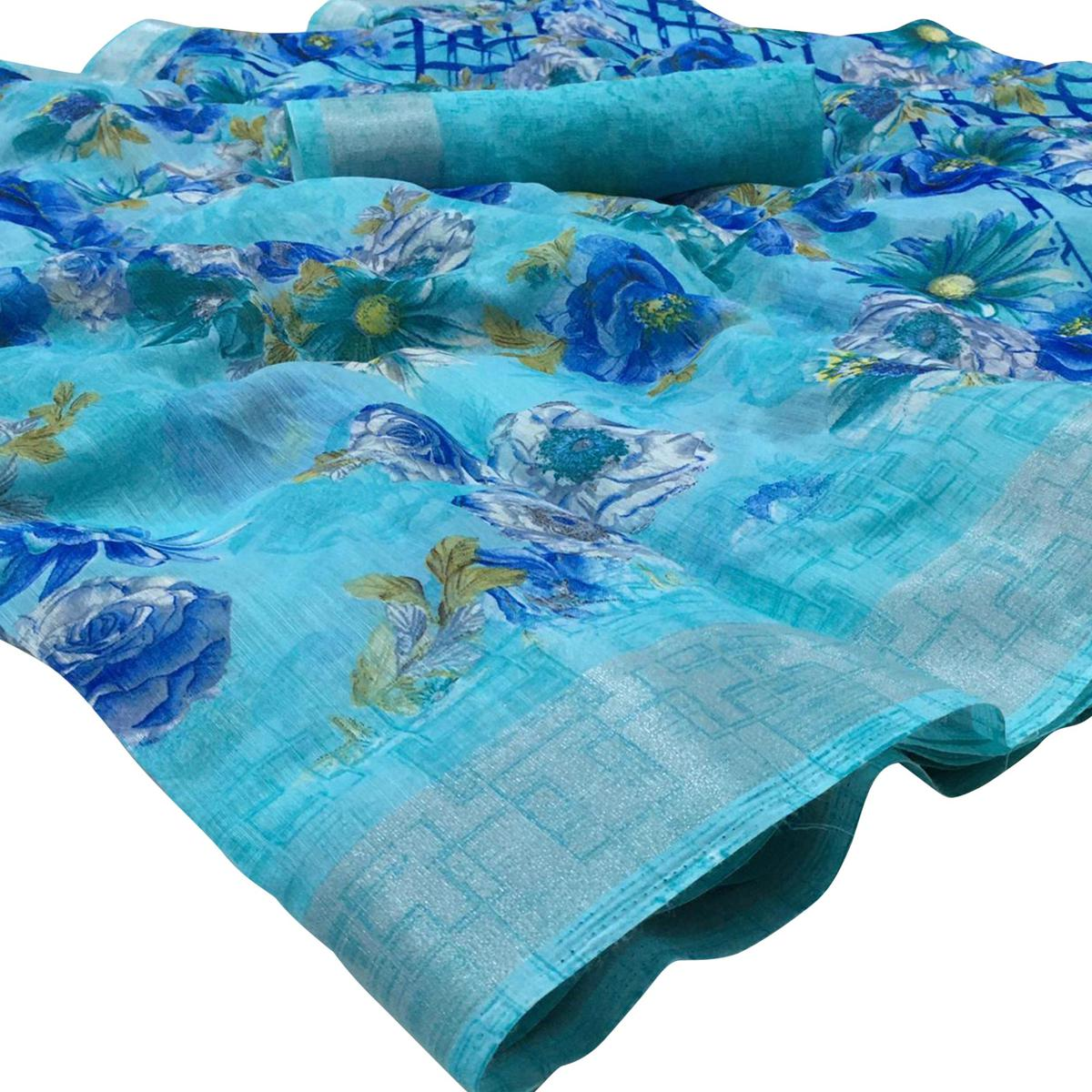 Pleasant Sky Blue Colored Casual Wear Floral Printed Linen Saree