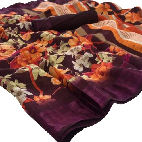 Glowing Wine Colored Casual Floral Printed Linen Saree
