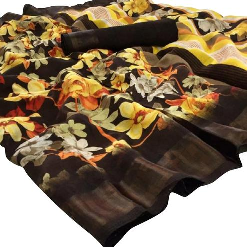 Gleaming Brown Colored Casual Floral Printed Linen Saree